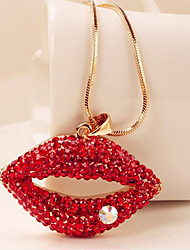 New Arrival Fashion Jewelry Red Pearl Rhinestone Lips Necklace