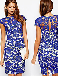 MAKE  Women's Lace / Solid Color Blue Dresses , Sexy / Bodycon / Party Round Short Sleeve