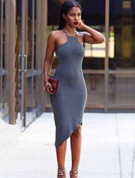 Women's Popular New Solid Bodycon Dress , Strap Asymmetrical Cotton