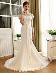 Trumpet / Mermaid Wedding Dress Floral Lace Chapel Train Off-the-shoulder Lace Satin with Bow Lace