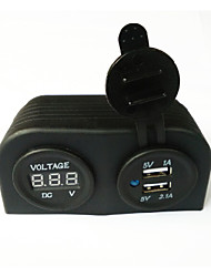 lossmann Water Resistant Double USB Car Charger Adapter and Digital Voltmeter