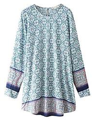 Women's Print Multi-color Blouse , Round Neck Long Sleeve