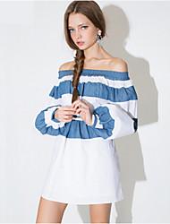 Women's Color Block Multi-color Blouse , Off Shoulder Long Sleeve