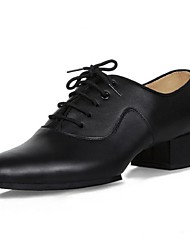 Non Customizable Men's Dance Shoes Latin Leather Chunky Heel Black