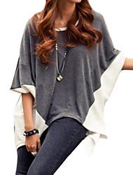 Damen T-Shirt Polyester / Baumwoll-Mischung ½ Länge Ärmel Rundhalsausschnitt