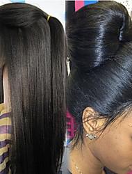 """non transformés 10 """"-26"""" brésilien yaki de couleur naturelle pleine perruque de dentelle de cheveux humains droites en dentelle perruques"""