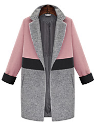 Women's Casual/Daily Street chic Coat,Solid Cowl Long Sleeve Fall Pink / White Polyester Opaque