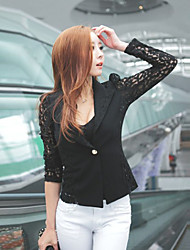 Women's Patchwork White / Black Coats & Jackets , Lace Tailored Collar Long Sleeve