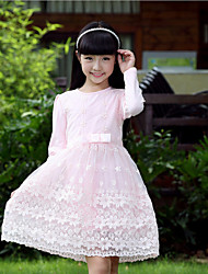 Girl's Pink / White Dress,Floral Cotton Fall