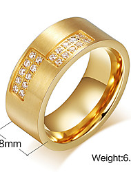 Band Rings Zircon Cubic Zirconia Steel 18K gold Fashion Screen Color Jewelry Party 1pc