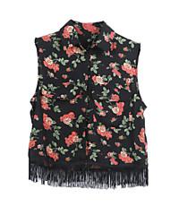 Women's Patchwork Multi-color Shirt , Shirt Collar Sleeveless