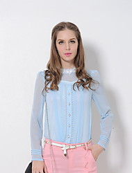 Women's Solid Blue / Pink / White Blouse , Turtleneck Long Sleeve