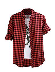 JamesEarl Hommes Col de Chemise Manche Longues Shirt et Chemisier Rouge - M61XC000801