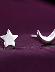 S925 Fine Silver Moon & Star Stud Earrings