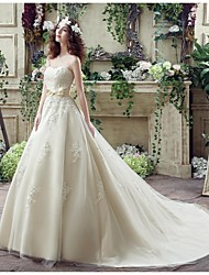 Wedding Dress - Champagne Court Train Sweetheart Georgette