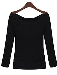 Spring Fashion Women Slim Was Thin Two Wear Sexy Strapless Word Collar Bottoming T-Shirt Tops Blouse