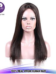 Seda 8-28inch cabelo humano direto cor natural completa peruano peruca com o cabelo do bebê