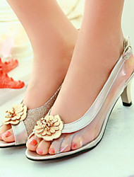Women's Shoes Silicone / Patent Leather / Glitter Stiletto Heel Peep Toe Sandals Office & Career / Dress / Silver / Gold