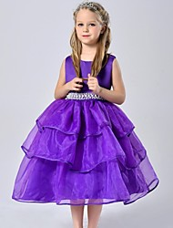 Ball Gown Tea-length Flower Girl Dress - Organza / Satin Sleeveless