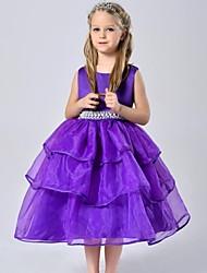 Ball Gown Tea-length Flower Girl Dress - Organza / Satin Sleeveless Jewel with
