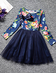 Girl's Blue / Yellow Dress,Floral Cotton Spring / Fall