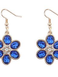 Europe Bohemia Flowers Fresh Sweet Temperament Sapphire-jewelry Earrings