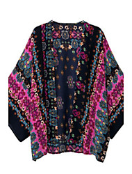 Women's Floral Multi-color Blouse , Round Neck Long Sleeve