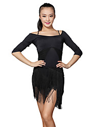 Latin Dance Outfits Women's Training Milk Fiber Tassel(s) 2 Pieces Skirt / Top S-XXL:52.5-58.5CM