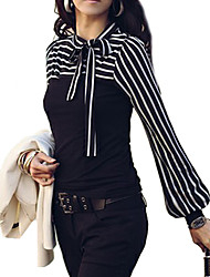 Women's Fine Stripe Bow Neck Stripes Print Long Sleeves T-shirt