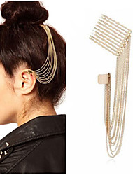 Gold Tone Spike Tassels Hair Comb Ear Cuff Earring Non Pierced Headpiece