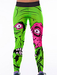 Women's Green Monster Print High Waist Yoga Pants
