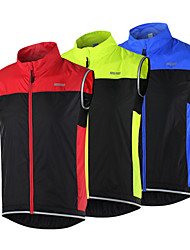 Arsuxeo Cycling Vest Men's Bike Jacket Tank Breathable Windproof Reflective Strips Fleece Patchwork Cycling/Bike Fall/Autumn WinterRed