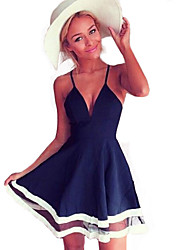 Women's Sexy V Neck Strap Mesh Splicing Chiffon Dress