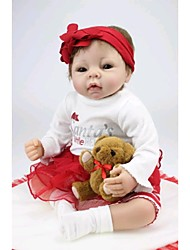 NPKDOLL Reborn Baby Doll Soft Silicone 22inch 55cm Magnetic Mouth Lifelike Cute Lovely Toy Girl Red