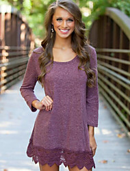 Women's Hot Sale Solid Round Neck Long Sleeve Casual Loose Hin Thin Dress
