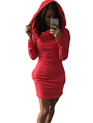 Women's Casual/Daily Vintage Dress,Solid Hooded Above Knee Long Sleeve Red / Black / Gray Rayon / Polyester Winter