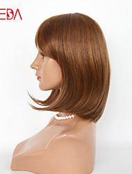 Light Brown Color Machine Made Wig With Wefts Back 12inch Human Hair Wig Cheap Hair Wig For Black Woman