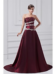 Formal Evening Dress A-line Strapless Court Train Taffeta with Beading / Side Draping
