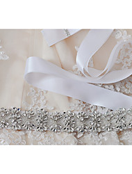 Satin Wedding / Party/ Evening / Dailywear Sash-Sequins / Beading / Appliques / Crystal / Rhinestone Women's 98 ½in(250cm)Sequins /