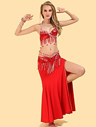 Belly Dance Outfits Women's Performance Spandex / Polyester Draped 3 Pieces Fuchsia / Gold / Red / Royal Blue Belly DanceSkirt / Top /