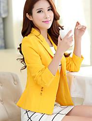 Women's Elegant Lapel Long Sleeve Slim Pure Color Blazer