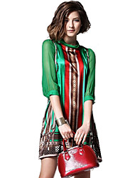 Women's Going out Vintage Loose Dress,Print Turtleneck Above Knee ¾ Sleeve Multi-color Silk / Polyester / Others Summer