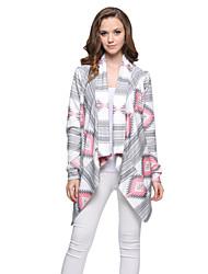 Women's Color Block Asymmetric Casual Day Loose Print Geometry Long Sleeve Cardigan