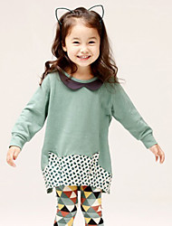 Girl's Spring/Fall Cotton Sequin Long Sleeve calf Long shirt Printing Two-Piece Set