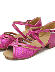 Women's / Kids' Dance Shoes Belly / Latin / Modern / Samba Leatherette Chunky Heel Silver / Gold / Fuchsia