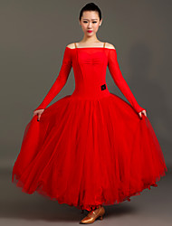 Robes(Noire / Rouge,Chinlon / Tulle,Danse moderne)Danse moderne- pourFemme Plissé Spectacle Danse de Salon Taille moyenne