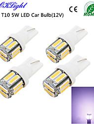 youoklight® 4шт T10 5W 400lm 10-smd7020 6000k белый свет привел машину лампы свет (12)