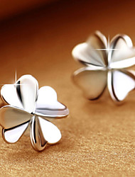 Women's Stud Earrings Costume Jewelry Platinum Rhinestone Alloy Four Leaf Clover Jewelry For
