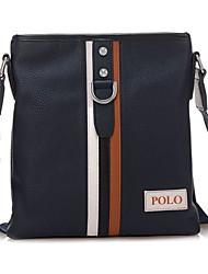 Men PU Baguette Shoulder Bag - Blue / Brown