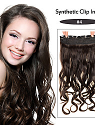 Clip in On Hair Extensions Wavy Clip On Hairpieces medium brown